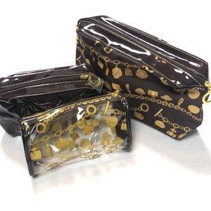 Estee Lauder New Brown Gold Makeup Bags Set Cases